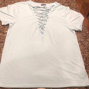 Express, light blue, crisscross top, worn once